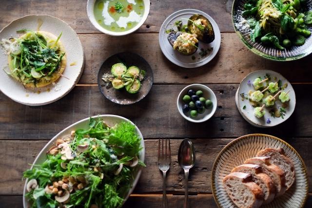 緑のパーティー料理