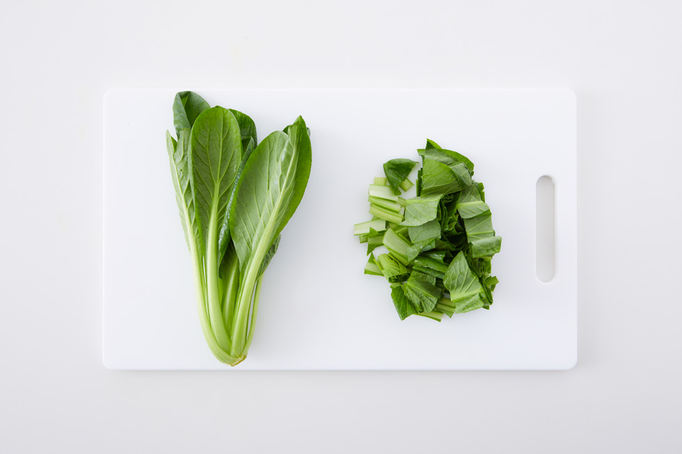 小松菜のカットの大きさで比較