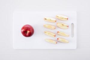 りんごのカットの大きさで比較